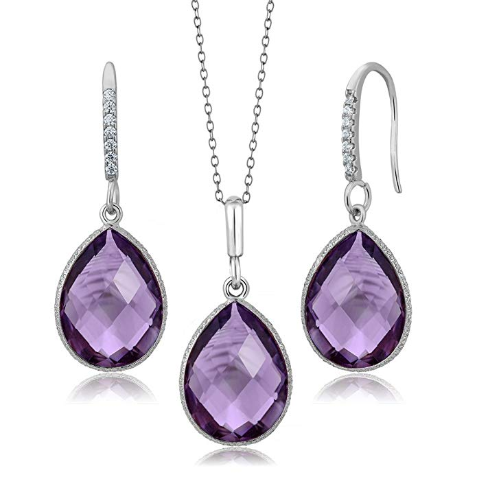 Sterling Silver Faceted Amethyst Pear Shape Pendant and Earrings Set (19.50 cttw, With 18 Inch Silver Chain)