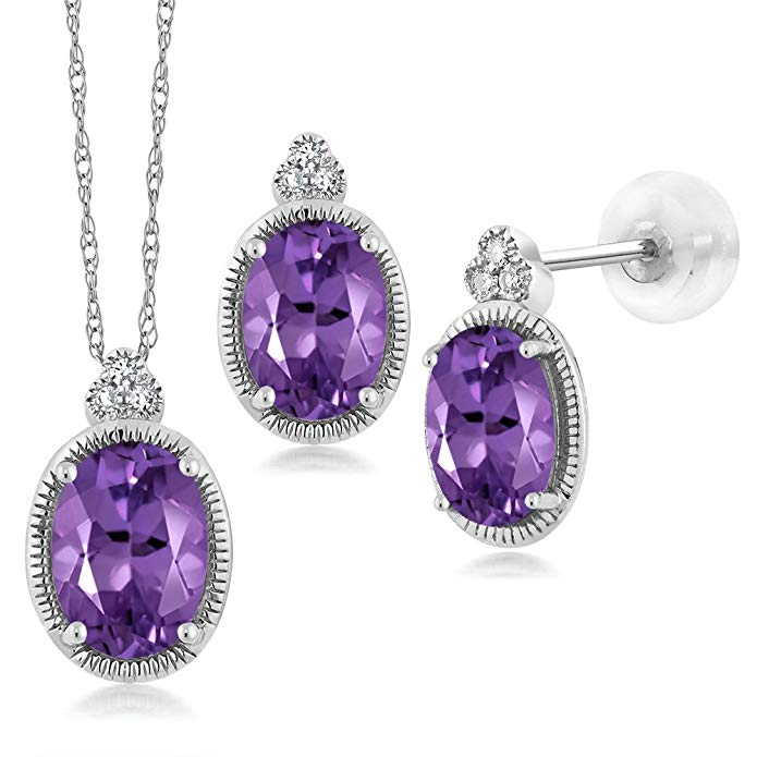 1.51 Ct Oval Purple Amethyst and Diamond 10K White Gold Pendant Earrings Set