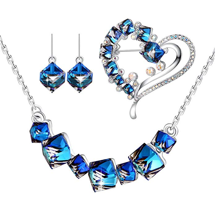 PLATO H Change Color Earring Necklace Ocean Blue Pendant Necklace Cubic Earrings Set with Swarovski Crystals Women's Gift Sets, 6 Different Crystal Jewelry Set Style