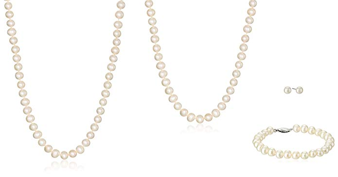 Mother and Daughter White Freshwater Cultured Pearl Necklaces, Bracelet, and Stud Earrings Set