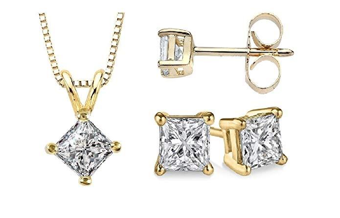 PARIKHS Princess cut Diamond Pendant & Stud Set Popular Quality-White & Yellow Gold