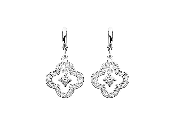 Ashlynn Avenue - Maisie Silver Blossom, Silver-Plated, 1.1 Ctw Drop Earrings