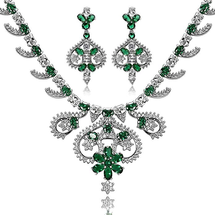 Epinki Silver Plated Jewelry Set, Art Crown Flower Leaf Drop Rhinestone Necklace And Earring Set 4 Colors