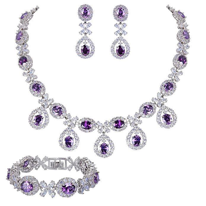 EVER FAITH Silver-Tone CZ Floral Leaves Water Drop Necklace Earrings Bracelet Set
