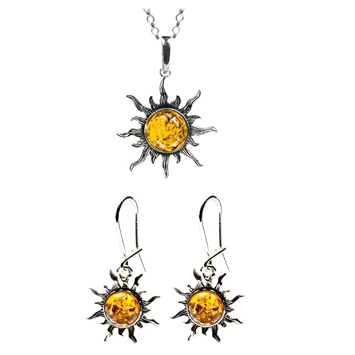 Honey Amber Sterling Silver Flaming Sun Set Earrings Necklace 18