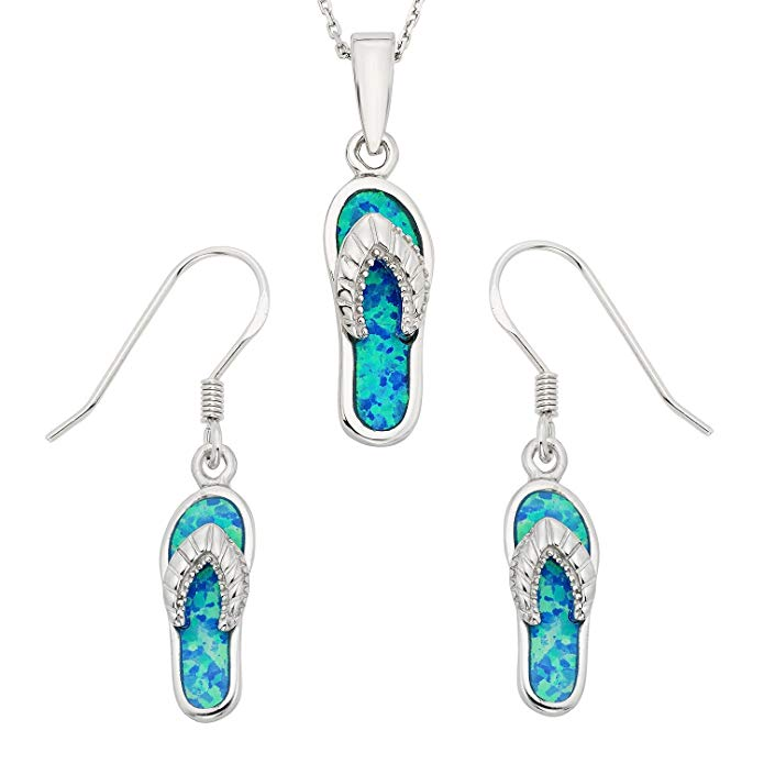Sterling Silver Created Opal Flip-Flop Earrings and Pendant Set with 18