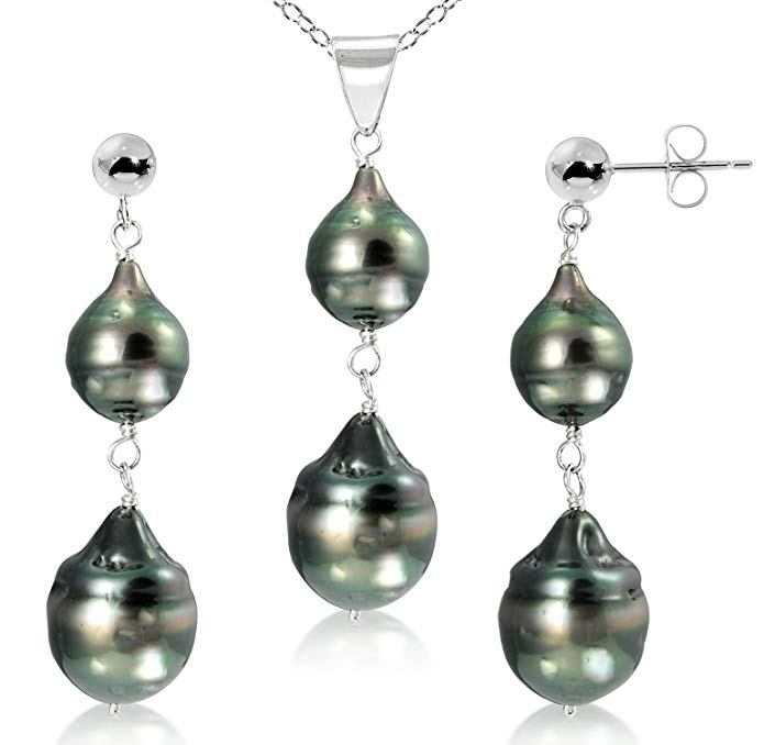 Sterling Silver 8-12mm Black Off Shape Tahitian Cultured Pearl Pendant and Stud Dangle Earrings, 18
