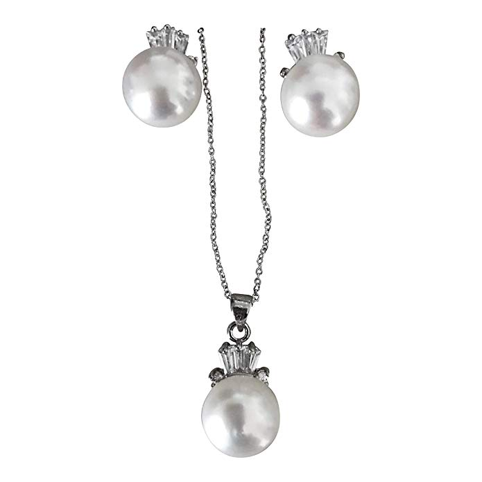 LUX IN A BOX Pearl Set 12mm 14K goldplated and CZ Freshwater Cultured Pearl New
