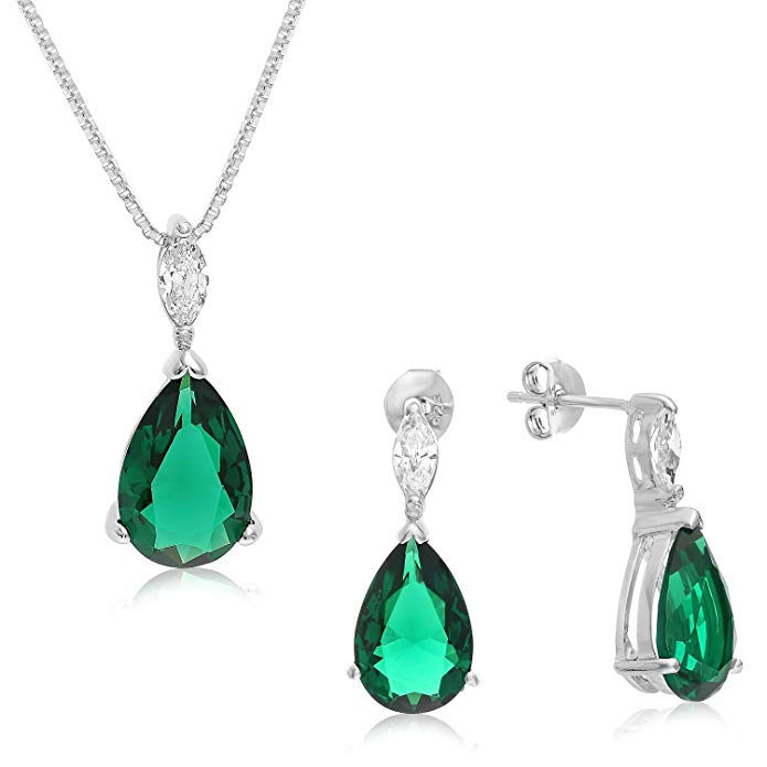 Sterling Silver 3 in 1 Matching Pear Shape Earrings, Pendant and Necklace.