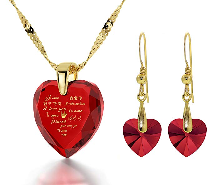 Gold Plated I Love You Necklace 12 Languages Gold Inscribed CZ - Crystal Earring Heart Jewelry Set, 18