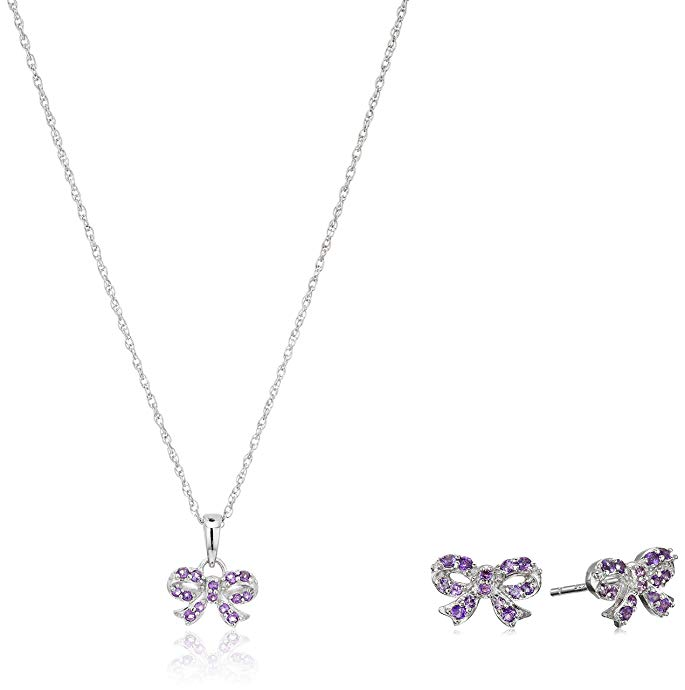 Girls' Petite Sterling Silver Genuine African Amethyst Bow Pendant Necklace and Stud Earrings Jewelry Set