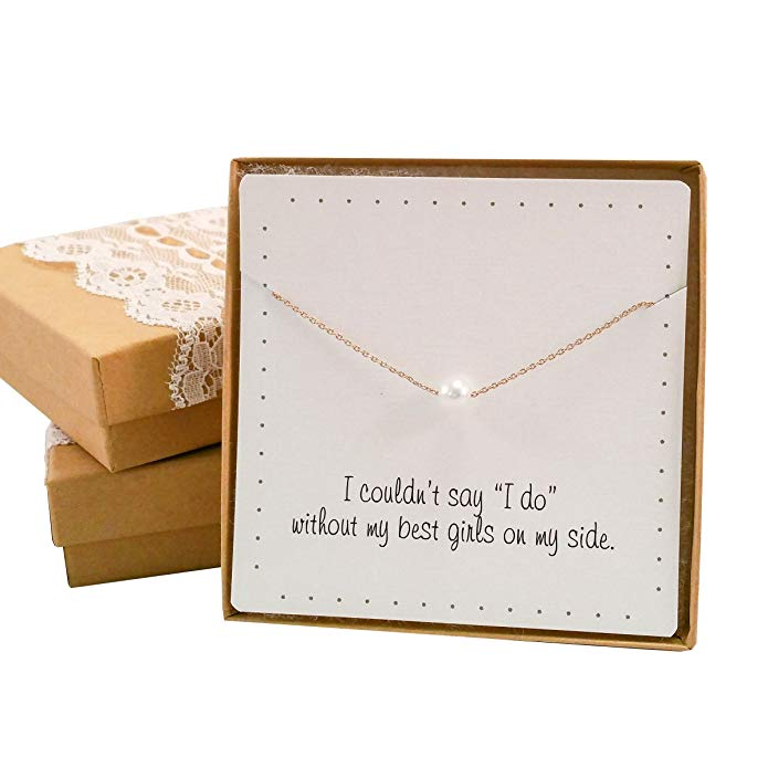 Bridesmaid Gift Set - Pretty Single Floating Pearl Necklace (Gold color, Simulated Pearl)