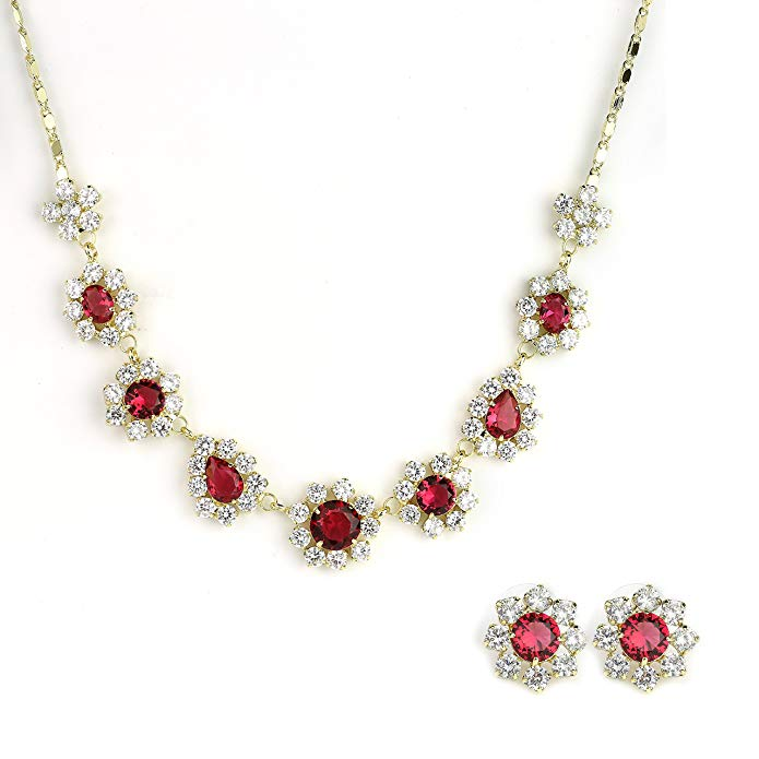 United Elegance Designer Necklace Sets 1 - Stunning Necklace and Earring Set in Gold Tone with Faux Ruby, Sapphire or Emerald & Swarovski Style Crystals