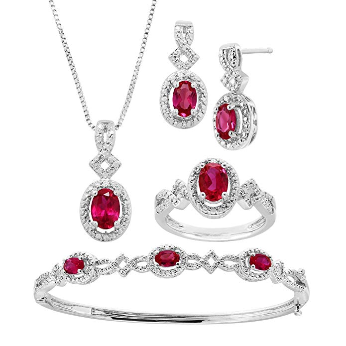 5 ct Created Ruby Pendant, Bracelet, Earring & Ring Set with Diamonds in 14K White Gold-Plated Brass