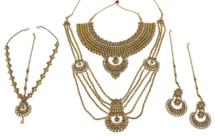 MUCH-MORE Elegant Style Polki Traditional Necklace Earring Bridal Sets For Women